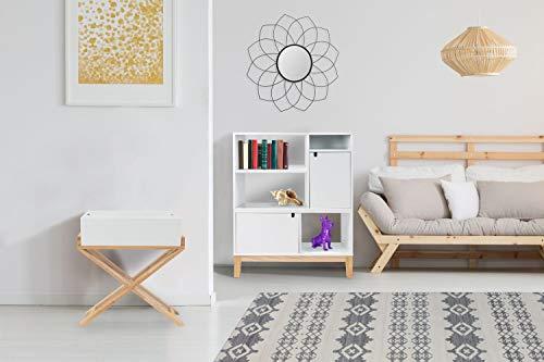 One Couture NACHTTISCH SCHRÄNKCHEN KLEIN Schrank FLACH Scandi SKANDINAVISCH Design WEIß Holz