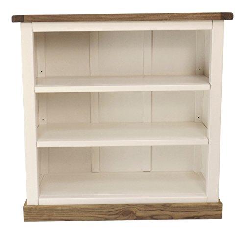 Schrank Niedriges Bücherregal mit Vierkant Bits Rock Holz Weiß