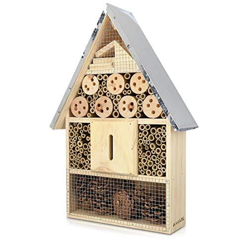 Navaris Insektenhotel aus Holz - versch Größen und Designs - Naturbelassenes Insekten Hotel für Verschiedene Fluginsekten