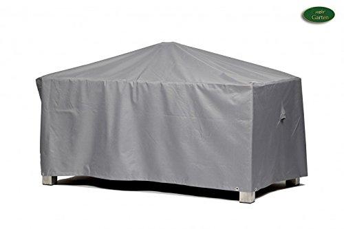 Premium Schutzhülle für Gartentisch rechteckig aus Polyester Oxford 600D - lichtgrau - von mehr Garten - Größe LXL 185 x 105 cm