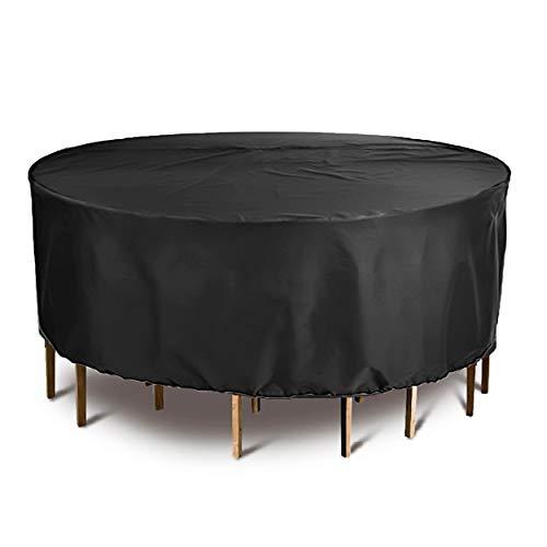 OOFIT gartenmöbel Abdeckung rund für GartentischGartenmöbel Premium Schutzhülle Winterfest und wasserdicht kälteresistent UV- Beständig Durchmesser Ø 1850cm x Höhe 110cm