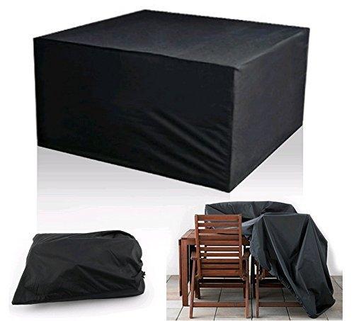 Diossad Gartenmöbel Schutzhülle Abdeckplane für rechteckige Tisch Sitzgruppe Sitzgarnituren Schwarz 123 x 123 x 74cm