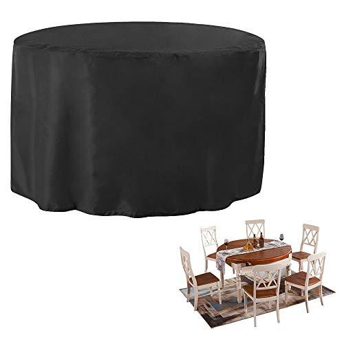 JTDEAL Rund Schutzhülle Gartenmöbel Oxford Polyester Gartenmöbel Abdeckung Abdeckhaube hülle cover plane für Tisch Sofa gartenliege Stühle 12871CM Schwarz