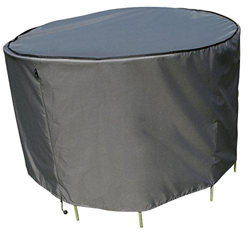 Schutzhülle  Cover für runden Tisch Set  Grau  Ø 153 x 90 cm LW x H  Wasserabweisend  SORARA  Polyester PU Coating UV 50 Premium  Abdeckhaube  Wettershutz  Regenfest  für Outdoor Garten Möbel
