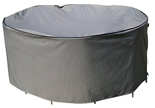 Schutzhülle  Cover für runden Tisch Set  Grau  Ø 239 x 90 cm LW x H  Wasserabweisend  SORARA  Polyester PU Coating UV 50 Premium  Abdeckhaube  Wettershutz  Regenfest  für Outdoor Garten Möbel