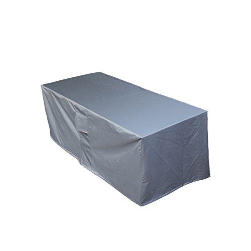 PATIO PLUS Schutzhülle Gartenmöbel Abdeckung Gartenmöbel und Abdeckplane für rechteckige Sitzgarnituren Gartentische und Möbelsets 200x160x70 cm Grau