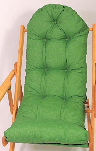 Auflage  Polster für Liegestuhl  Schaukelstuhl  Ersatzpolster Gr 130 x 50 x 12 cm Fb dunkelgrün