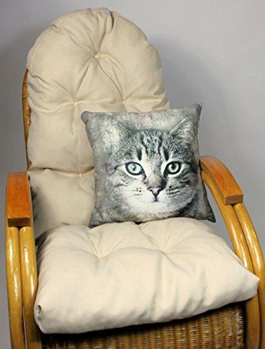 Auflage  Polster für Schaukelstuhl  Liegestuhl  Ersatzpolster Gr 130 x 50 x 12 cm Fb beige  Zierkissen 40 x 40 cm Filon