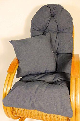 Rattani AuflagePolster für Schaukelstuhl Liegestuhl Ersatzpolster Gr 130 x 50 x 12 cm Fb anthrazit  Zierkissen 40 x 40 cm