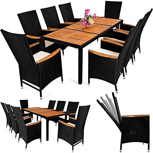 Deuba Poly Rattan Sitzgruppe 81 Schwarz  7 cm dicke Sitzauflagen  Tisch  Armlehnen aus Akazienholz  neigbare Rückenlehnen  wetterbeständiges Polyrattan  Modellauswahl 41  61  81  - Gartenmöbel Gartenset Sitzgarnitur