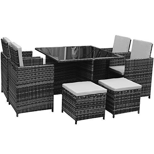 Polyrattan Lounge Gartenmöbel Set Garnitur Sitzgruppe Gartenmöbel SJ08 Grau