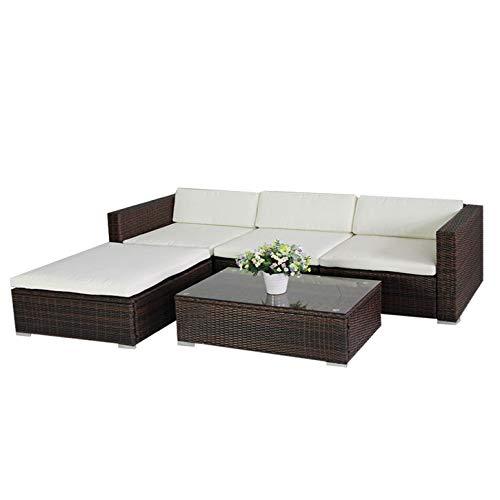 6034 POLY RATTAN Lounge Braun Gartenset Sofa Garnitur Polyrattan Gartenmöbel