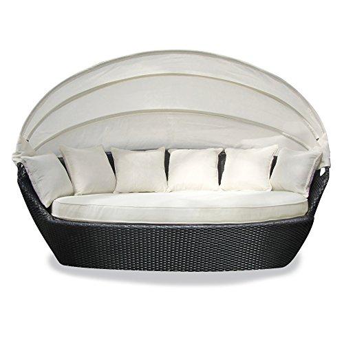 JOM Sonneninsel Polyrattan Garten Lounge Chill-Out Sofa mit Baldachin 195x115x140 cm schwarz Aluminiumgestänge mit Sitzpolster und 6 Kissen beige