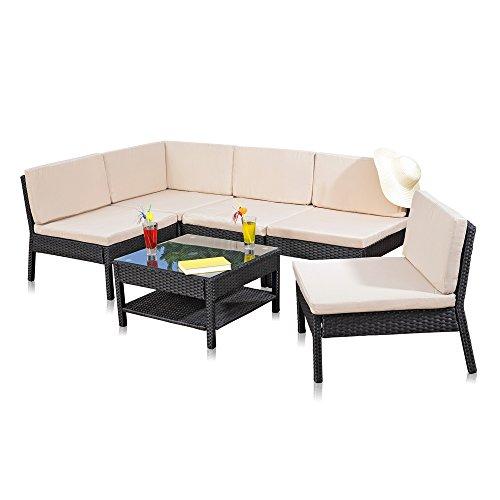 Melko Lounge Sofa-Garnitur Gartenset Poly Rattan mit Glastisch Schwarz inklusive Kissen mehrteilig