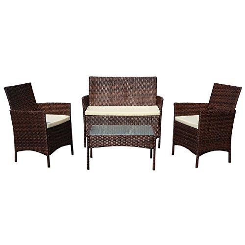 SVITA Gartenmöbel Poly Rattan Sitzgruppe Essgruppe Set Sofa-Garnitur Lounge Braun Grau oder Schwarz Braun