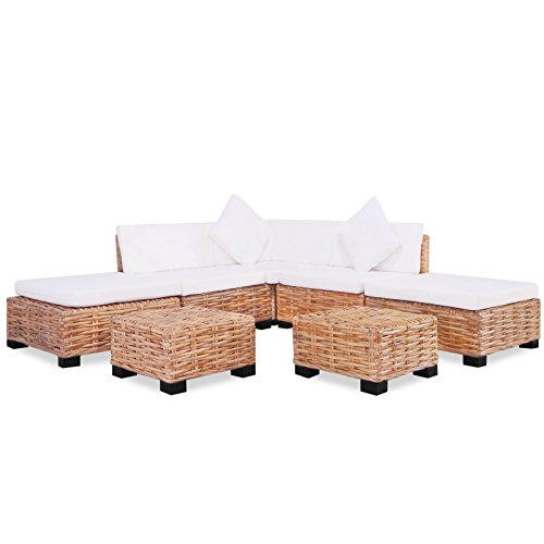 vidaXL Sofagarnitur 18-tlg Natur Rattan Sofa-Set Rattanmöbel Couch Lounge Möbel