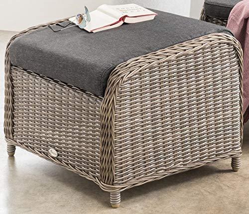 Destiny Lounge Hocker Casa Vintage Grau Luna Palma Fußhocker Polyrattan Beinauflage