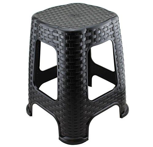 Hoffmanns Sitzhocker 28 x 28 cm Sitzfläche im edler Rattanoptik 45 cm hoch Standfläche 35 x 35 cm … Schwarz