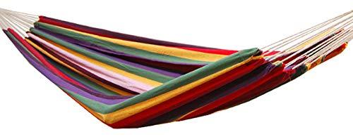 AMANKA XXL 2 Personen Hängematte Regenbogen Bunt Gestreift 400x160cm Belastbarkeit bis 150 KG 100 Baumwolle Mehrpersonen Hängematten