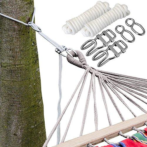 AMANKA XXL Befestigung für Hängematte an Bäumen Seilbefestigungsset 6 Meter Belastbarkeit max 160 KG Komplettset