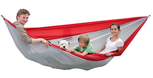 AMAZONAS Ultra-Light Hängematte Silk Traveller XXL für Mehrpersonen 700g 320cm x 230cm bis 200kg in Rot-Grau
