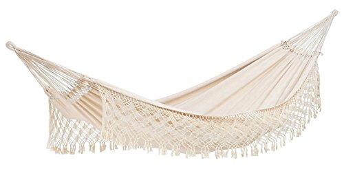AMAZONAS XXL Luxus Hängematte Rio Jacquard handgefertigt in Brasilien 250cm x 160cm bis 200kg in Weiß