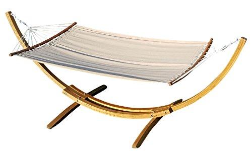 ASS 320cm Hängemattengestell HM3-BRAUN-BENT aus Holz Lärche mit Stab Hängematte gebogenem Stab von
