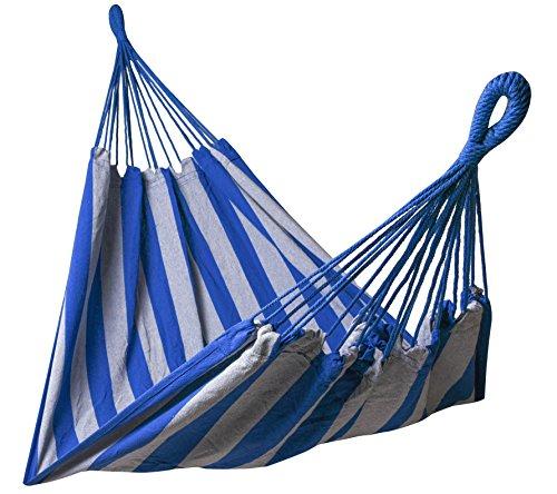 Kronenburg Hängematte Mehrpersonen 210 x 150 cm Belastbarkeit bis 300 kg in Blau - Grau