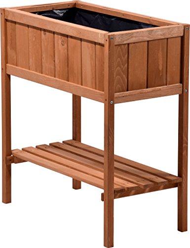 dobar Hochbeet aus Holz mit Ablageboden Frühbeet Bausatz für Gemüse Kräuter im Garten und Balkon braun 76x40x80 cm 58250e