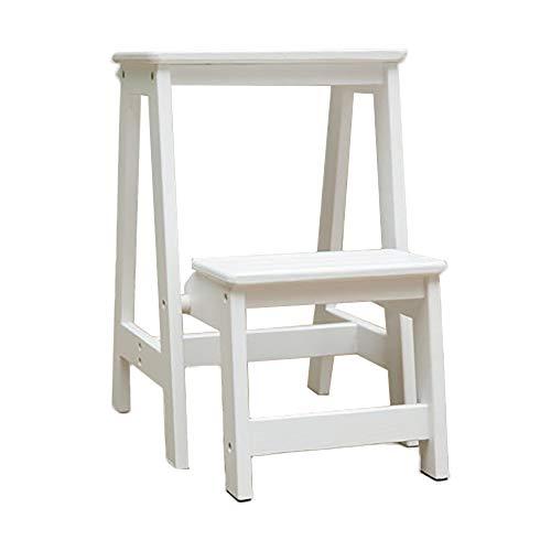 Leiter Hocker Massivholz zweistöckigen Schritt Hocker mehrschichtige Lagerung Haushalts Klappstuhl Dual-Purpose Indoor Ladder Farbe  Weiß