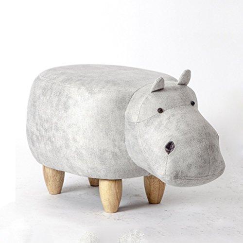 Stool Health UK Hocker Weiß Massivholz Cute Animal Rhino Fußstütze Hocker 4 Beine Schuhe Hocker Eintritt Sofa Hocker Welcome Farbe  Weiß