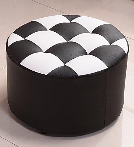 WUFENG Runder Hocker Sofa Hocker Massivholz Einfach Schuhbank Acht Farben Sind 40x40x26cm Verfügbar Farbe  Schwarz und weiß