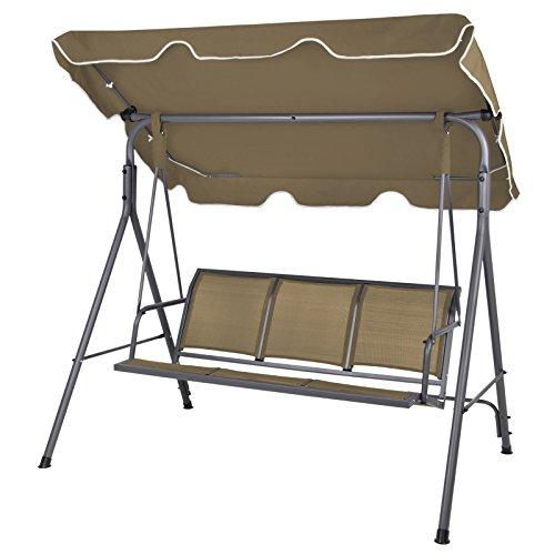 BB Sport 3-Sitzer Hollywoodschaukel BIBIONE mit Abnehmbarem und neigbarem Sonnendach Gartenschaukel für 3 Personen belastbar bis 250 kg Schutzhülle optional FarbeBisonbraun