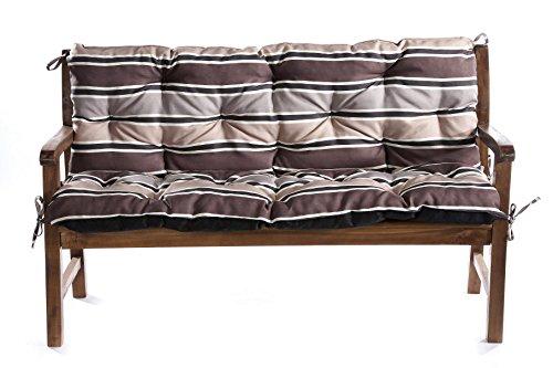 Bankauflage Bankkissen Sitzkissen  Rückenlehne für Hollywoodschaukel Bank 200cmx60cmx50cm Braun-Creme