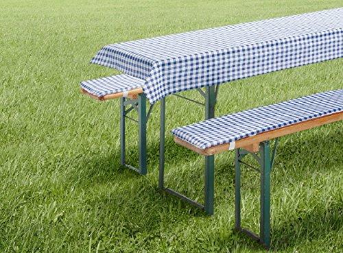 Auflagen Set für Bierzeltgarnitur Biergarniturauflage 3-teilig Vichy Karo blau kurz für Tischmaß 50x110 cm und 70x110 cm Tischdecke und Bierbankauflage Polster Bierbank Kissen Garten Typ331