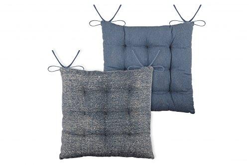 Vida Sitzkissen Stuhlkissen USED 9 Punkt Steppung 38x38x75 cm versch Farben Farbe blau
