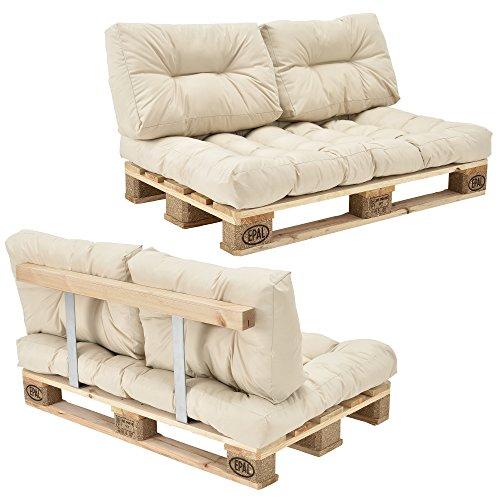 encasa Euro Paletten-Sofa - DIY Möbel - Indoor Sofa mit Paletten-Kissen  Ideal für Wohnzimmer - Wintergarten 1 x Sitzauflage und 2 x Rückenkissen Beige inkl 1 Europalette  Rückenlehne