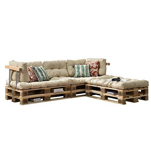 encasa Euro Paletten-Sofa - DIY Möbel - Indoor Sofa mit Paletten-Kissen  Ideal für Wohnzimmer - Wintergarten 3 x Sitzauflage und 5 x Rückenkissen Beige