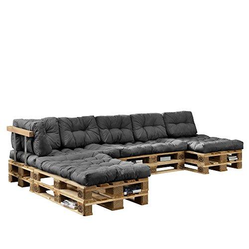 encasa Euro Paletten-Sofa - DIY Möbel - Indoor Sofa mit Paletten-Kissen  Ideal für Wohnzimmer - Wintergarten 4 x Sitzauflage und 6 x Rückenkissen Grau