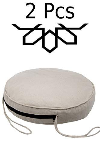 2 er Set Sitzkissen Stuhlkissen mit Schleife 45cm Groß Rund  Outdoor im Garten als Stuhlauflage oder Indoor als Stuhl Kissen im Wohnzimmer oder Küche  Rundes Bodenkissen aus Baumwolle 45 x 45 cm