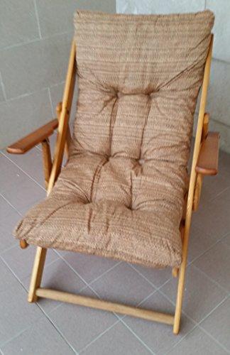Liberoshopping Sessel Liegestuhl zum Entspannen aus Holz verschiedene Positionen zusammenklappbar mit Kissen gepolstert für Wohnzimmer Küche Camping