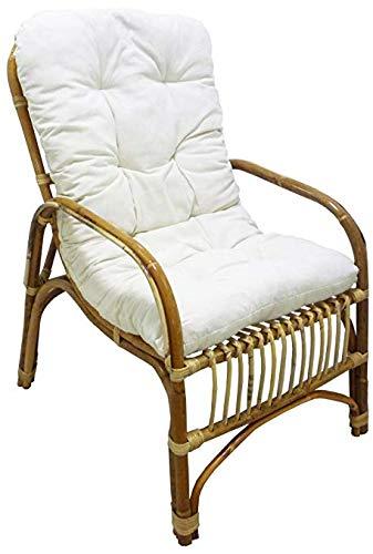 Savino Fiorenzo Sessel Stuhl Manao in Weide Bambus Rattan Natur mit Kissen für Haus Wohnzimmer