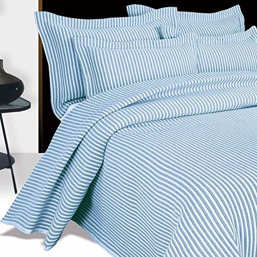 Homescapes Gestreifter KissenbezugKissenhülle mit Stehsaum Blau - Weiß 50 x 75cm
