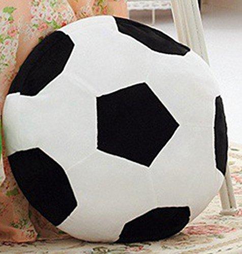 ChezMax Fußball Schwarz und Weiß Niedlichen Plüsch Dekorative Runde Dekokissen für Home Office Sofa Stofftiere Rücken Kissen Kreative Puppe für Kinder
