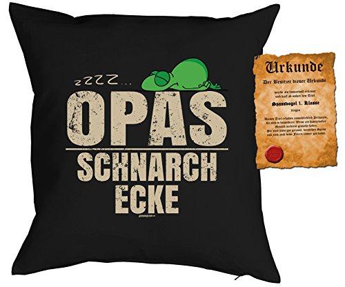 FamilienOpaDeko-KissenSofa-Kissen m Füllung Spaß-Urkunde zzz Opas Schnarch Ecke GeschenkideeGeburtstag