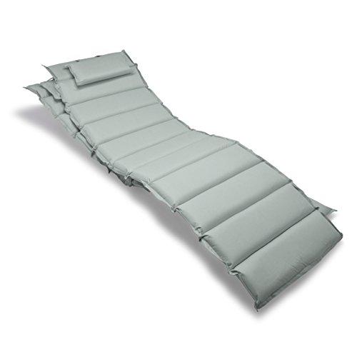 Nexos GL06037_SL2 2-er Set Liegen-Auflage Kopfkissen für Sauna Garten Terrasse aufrollbar hellgrau grau