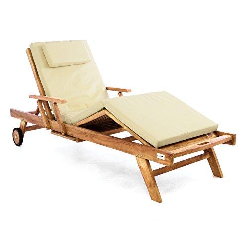 DIVERO Sonnenliege Holzliege Gartenliege Teak-Holz behandelt mehrfach verstellbar inkl Räder Tablett  Liegen-Auflage 4-teilig wasserabweisend Creme