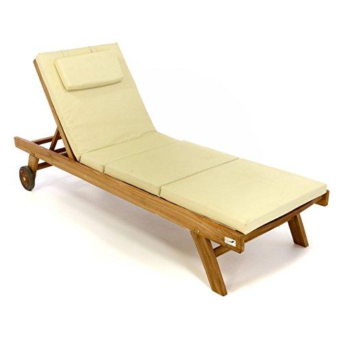 Divero Set Sonnenliege Holzliege Gartenliege Teakholz behandelt inkl Räder verstellbares Kopfteil Auflage Creme