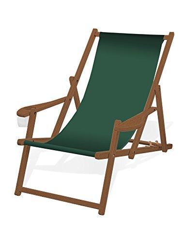 Holz-Liegestuhl mit Armlehne und Getränkehalter Klappbar mit dunkelbrauner Lasur Wechselbezug Tannengrün