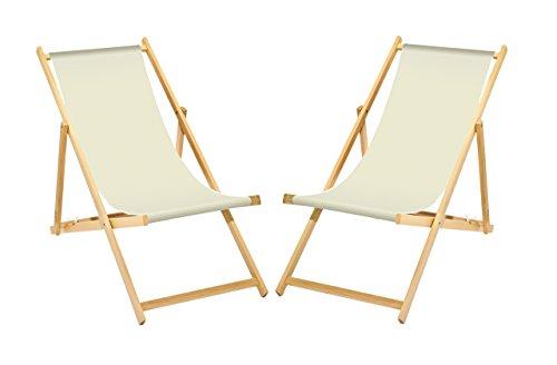 2 x Liegestuhl Holz Weiß ohne Armlehne klappbar mit wechselbaren Stoffbezug